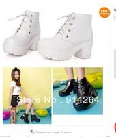 Women's Fashion Retro Heel Platform Shoes Lace Up Girl Martin Boots Round Toe /free shipping