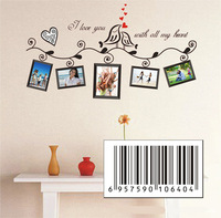 2 Colors Black Brown Photo Frame Loving Bird Love You Heart Decal Vinyl Wall Stickers PVC Decor Decoration DIY Home Living room
