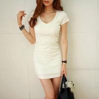 2012 summer new arrival women's summer women's 100% cotton short-sleeve slim hip basic one-piece dress t206
