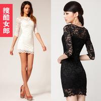 Lady women's 2012 autumn female full lace decoration dress cutout sexy slinky one-piece dress slim hip