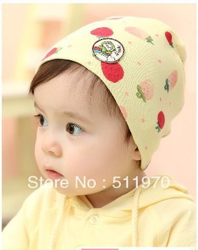 Free shipping 2013 hot 10pcs/lot Spring and Autumn caps baby head wrap hats Cute Strawberry printed cotton caps with two colors
