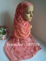 a555 Chiffon And Lace Scarf Fashion Two Layers Long Scarf Spring Design Shawl Elegant Muslim Hijab Free Shipping By EMS or FEDEX
