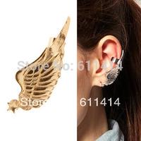 EC016,free shipping wholesale 20pcs/lot gun-black/golden clip earrings,punk retro angel wing earrings
