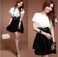 NEW elegant  chiffon black and white ruffle sleeve women dress fashion skrit with belt free shipping