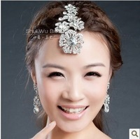 2013 new items free shipping!Silver rhinestone flower comb style bridal hair accessories for wedding multi use HG077