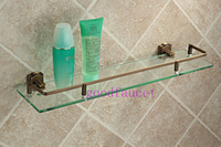 Free shipping ! Wall mount  antique bronze bathroom shelf brass made base + glass shelf single tier bathroom accessaries