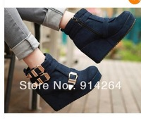 Women's Metal Buckle Winter Warm Ankle Boots High Heel Platform Wedge Pumps /free shipping +trackingnumber