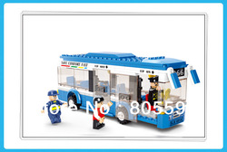 M38-B0330 BUS sluban Building Block Set 3D Construction Brick Toys Educational Block toy for Children(China (Mainland))