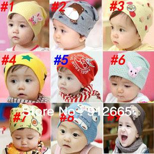 40pcs/lot Sping Sale 9designs baby cotton beanie hat infant sport cap children bonnet headwear free shipping(China (Mainland))