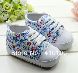 S172 Hot Sale New Free shipping Blue flower Baby Soft Bottom toddler foot wear For 2 sizes to choose(China (Mainland))
