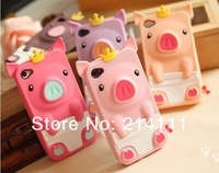 DHL Free shipping colorful lovely 3D Pig Crown Silicone Case back Cover for iPhone 4 4G 4S 50pcs/lot