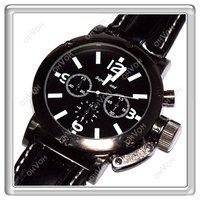 S5Y Mens Gents PU Leather Sport Quartz Wrist Watch Black Band Dial Japan Movt