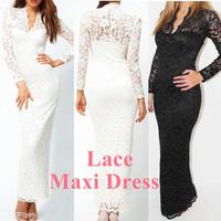 New Fashion Ladies' Sexy V-Neck Slim Scallop Neck Lace Women Maxi Dress Long Sleeve Wedding Evening White Black  Dark Blue