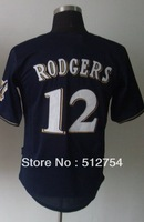 Free Shipping #12 Rodgers Men's Baseball Jersey,Embroidery and Sewing Logos,size M--3XL,Accpet Mix Order