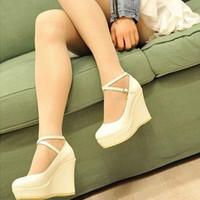 2013 women's shoes gladiator bandage high-heeled  platform wedges princess  single shoes free shipping