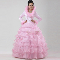 The bride pink bride wedding dress winter wedding dress cotton wedding dress thermal winter wedding dress hs262