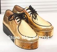 Women  Retro Lace Up Glitter Shoes Platform Heels Flat Pumps Metallic Round Toe /free shipping +trackingnumber