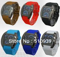 2013 Brand New! Fashion Design Blue LED watch Light Dot Matrix Mens Aviation WATCH dive 6colors 1pcs/lot free dropshipping