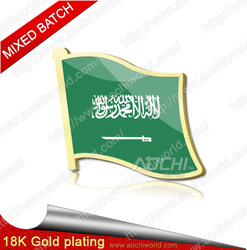 Free shipping Mixed batch Saudi Arabia Flag Lapel pins Metal State single Flag badges holiday gifts Wholesale(China (Mainland))