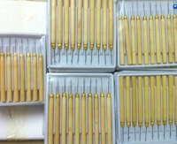 100pcs/lot  free shipping Wooden Handle Feather Hair Extension Wig Hook Needle & Threader Tool