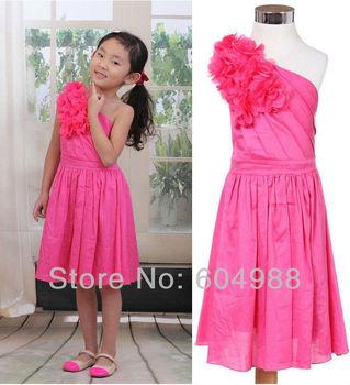Girl dress Cotton satin drill dress Stereo flower dress Sloping shoulder dress party dress
