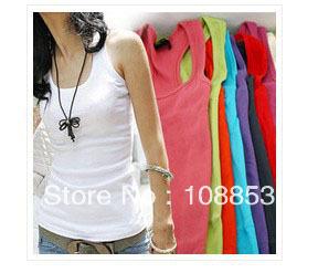 Fashion Women's High Quality Cotton Temperament Long T-Shirt Long Tank Top Free Shipping CMS-0001