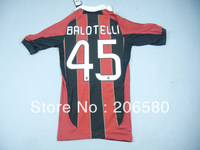 Free shipping,13/14 season AC Milan home red/black soccer jersey (#45 BALOTELLI)