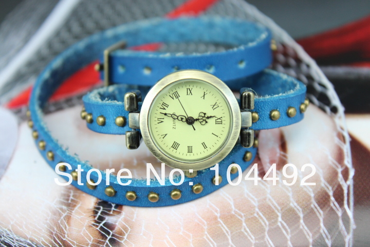 Freeshipping DHL 200pc/lot Fashion women watches,Real leather band,9 colors choice,the Roman numerals head,quartz movement(China (Mainland))