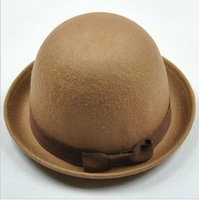 Free Shipping 3 pieces/lot High Quality Fashionable Wool Bowler Hat Dome Cap Fedoras For Women