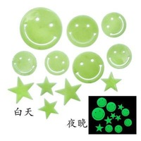 Free Shipping Glow In The Dark  Smiling Face And Stars Wall Bed Stickers Decal Baby Kid Home Room Nursery