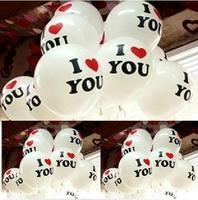 "100pcs/bag Free shipping wholesales 12 inch 2.8g balloons , Print balloons ,wedding decoration ,Print ""I LOVE YOU"""