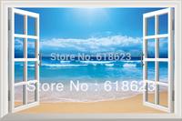 Scenery  fake window sticker 70*46cm sofa background bedroom   art Removable wall sticker  hj-2