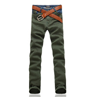 Slim trousers male denim decoration autumn and winter male casual pants casual trousers male