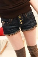 Free shipping Women's 2014 leopard print multi-button denim jeans shorts female