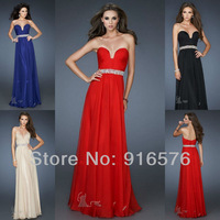 rhinestone sexy formal long dresses sweetheart floor length chiffon empire style royal blue red black champagne