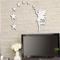Min order 15 usd ( Mix items ) 7PCS Stars  Fairy star mirror wall stickers 3D Art Sticker