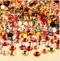 Mixed size mixed color 5000pcs/pack  flat back acrylic rhinestones Nail Art Rhinestones free shipping