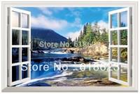 Simulation  pvc fake windows sticker 70*46cm sofa background bedroom    Removable wall sticker  fj-24