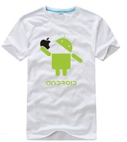 Android eating Apple creative men's short-sleeved cotton t-shirt