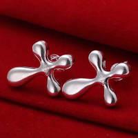 Lose money Promotion! Wholesale 925 silver earrings, 925 silver fashion jewelry, Water Drop and Cross Earrings E034