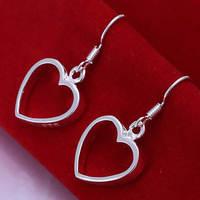 Lose money Promotion! Wholesale 925 silver earrings, 925 silver fashion jewelry, Flat Hollow Heart Earrings E047