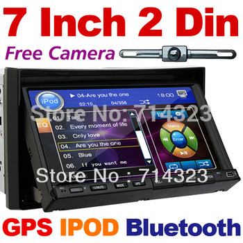 "Free Rear Camera+Map GPS Navigation 7""In Dash 2 Din Car DVD Player Head Deck Bluetooth Ipod TV RDS Radio HD LCD 3G wifi Optional"