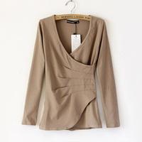2012 autumn all-match solid color pleated slim elegant long-sleeve involucres t-shirt basic shirt