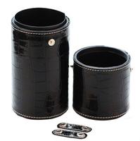 Professional makeup brush tube bucket large capacity black serpentine pattern PU 30 brush set totipotent
