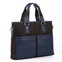 Nylon cloth/genuine leather man laptop bag briefcase cloth fashion commercial bag 0125