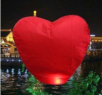 10pcs/lot High Quality Red Heart-shape Sky Lanterns & Paper Lantern For Promotion Free Shipping