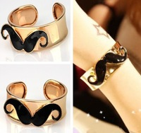 5ps/Lot Vintage Fashion Handlebar Black Mustache Moustache Open Bracelet Bangle Free Shipping