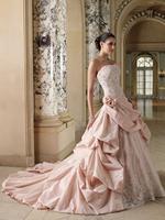 Best Seller Ball Gown Strapless Backless Taffeta Applique Pink Wedding Dress 2013