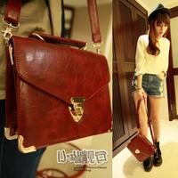 2012 women's handbag fashion vintage briefcase fashion messenger bag one shoulder cross-body