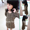 free shipping Spring/Autumn 100-140cm children/kid/ Girls Classic Leopard Print Cotton Long Sleeve One-Piece Dresses,5pcs/lot,